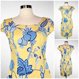 Vintage MAGGY L Sheath Yellow Blue Floral Beads 4